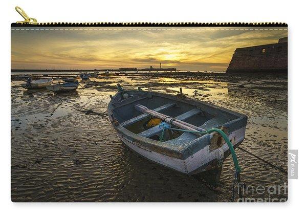 Beached Boat On La Caleta Cadiz Spain Carry-all Pouch