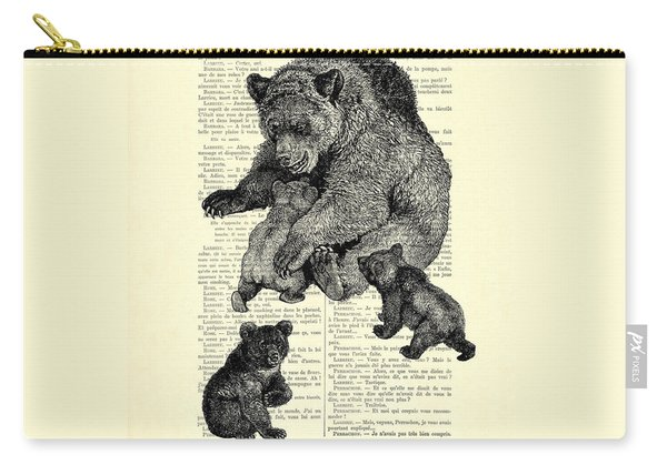 Bear And Cubs Black And White Antique Illustration Carry-all Pouch