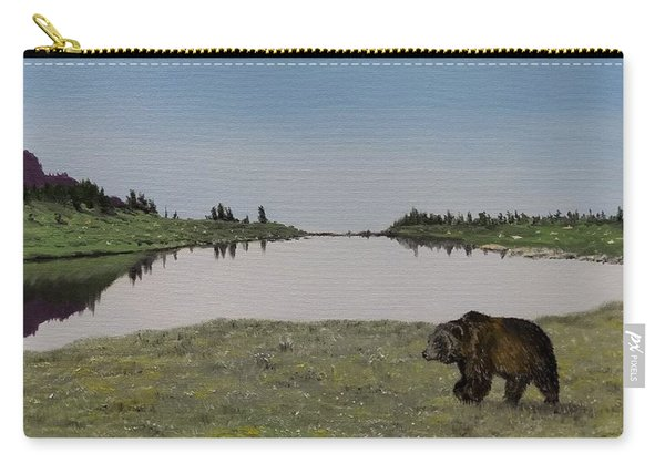 Carry-all Pouch featuring the painting Bear Reflecting by Kevin Daly