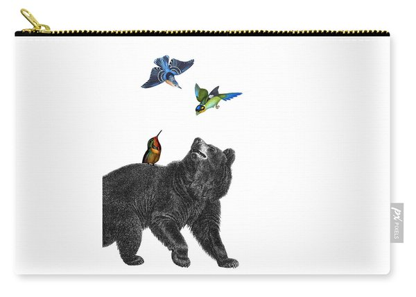 Bear With Birds Antique Illustration Carry-all Pouch