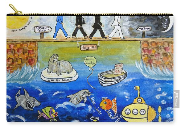 Beatles Song Titles Original Painting Characterization  Carry-all Pouch