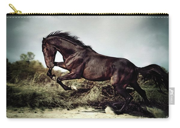 Beautiful Black Stallion Horse Running On The Stormy Sky Carry-all Pouch