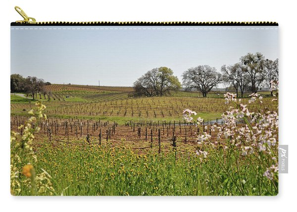 Beautiful California Vineyard Framed With Flowers Carry-all Pouch