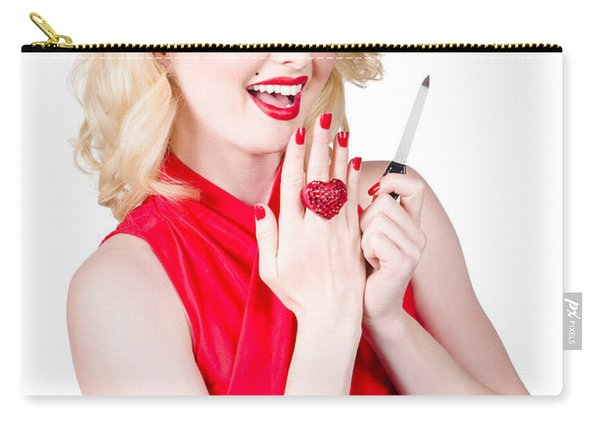 Beautiful Manicure Woman Wearing Red Nail Polish Carry-all Pouch