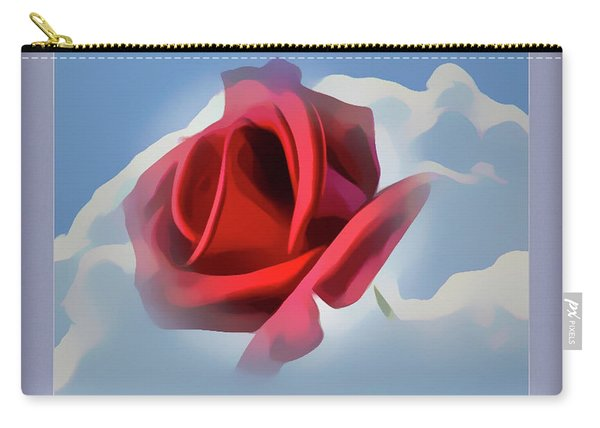 Beautiful Red Rose Cuddled By Cumulus Carry-all Pouch