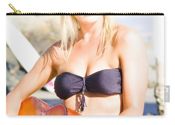 Beautiful Sunglasses Girl Playing Guitar Outdoors Carry-all Pouch
