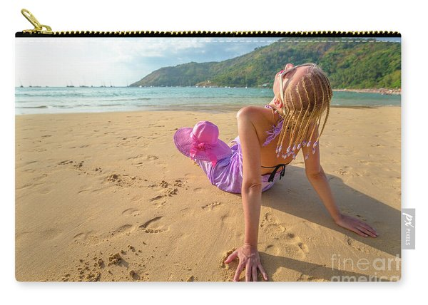 Carry-all Pouch featuring the photograph Beautiful Woman Sunbathing On Beach by Benny Marty