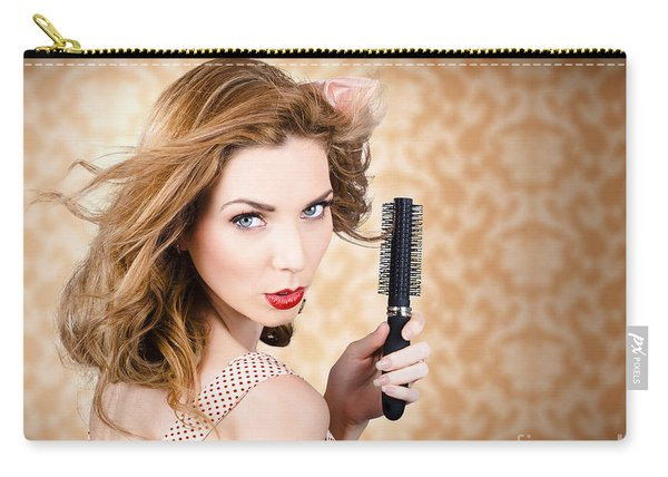 Beautiful Woman With Short Red Hair. Hairdressing Carry-all Pouch