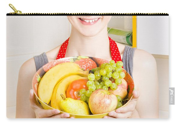 Beautiful Woman With Smile And Fresh Fruit Bowl Carry-all Pouch