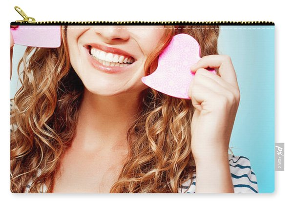 Beautiful Young Woman In A Love Heart Romance Carry-all Pouch