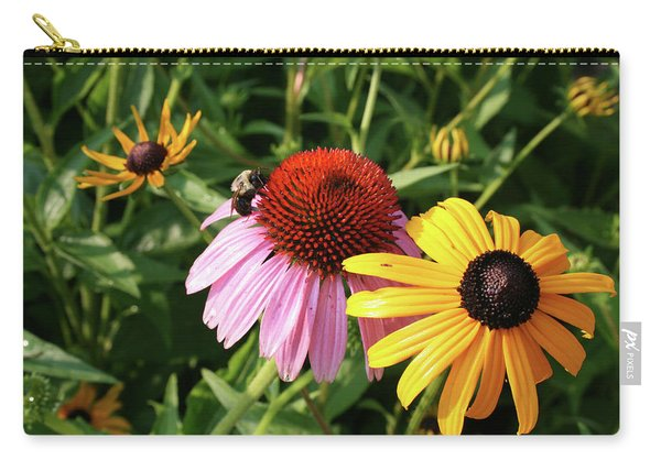 Bee On The Cone Flower Carry-all Pouch