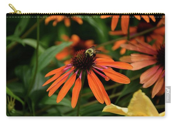 Bee Pollinating On A Cone Flower Carry-all Pouch