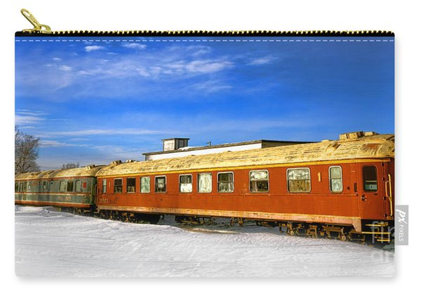 Belfast And Moosehead Railroad Cars In Winter Carry-all Pouch