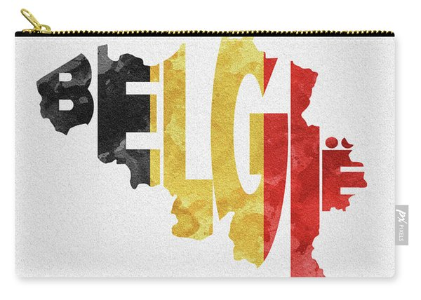 Belgium Typographic Map Flag Carry-all Pouch