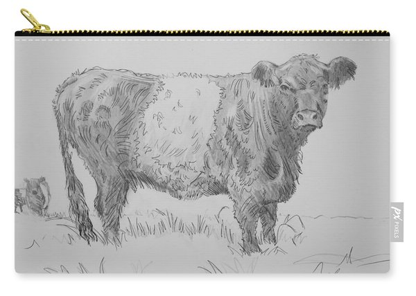 Belted Galloway Cow Pencil Drawing Carry-all Pouch