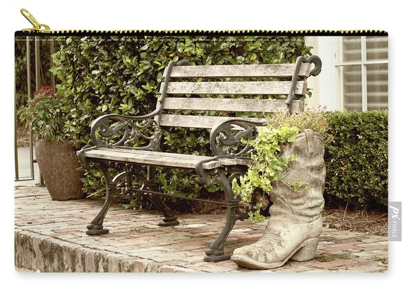 Carry-all Pouch featuring the photograph Bench And Boot 2 by Michael Colgate