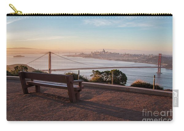 Bench Overlooking Downtown San Francisco And The Golden Gate Bri Carry-all Pouch