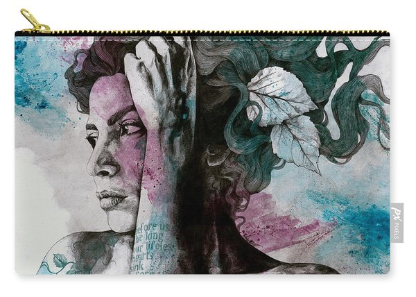 Beneath Broken Earth - Street Art Drawing, Woman With Leaves And Tattoos Carry-all Pouch