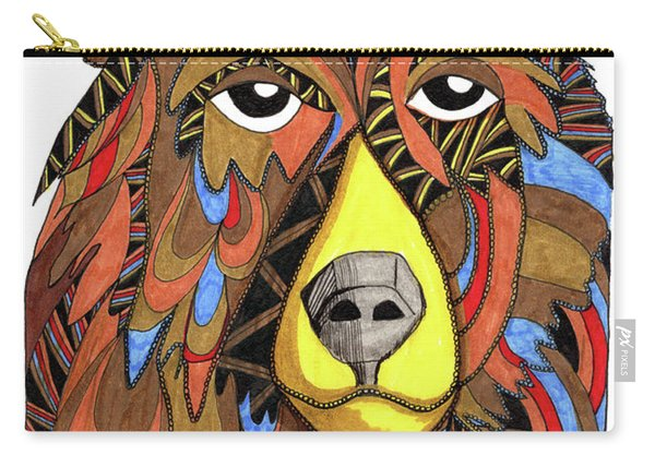 Carry-all Pouch featuring the drawing Benjamin Bear by Barbara McConoughey