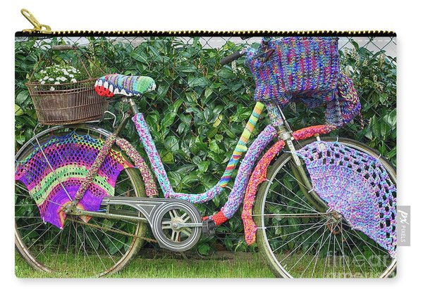 Bicycle In Knitted Sweater Carry-all Pouch