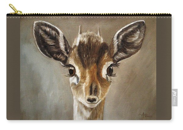 Carry-all Pouch featuring the painting Big Eyes Dik-dik by Angeles M Pomata