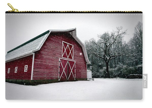 Big Red Barn In Snow Carry-all Pouch