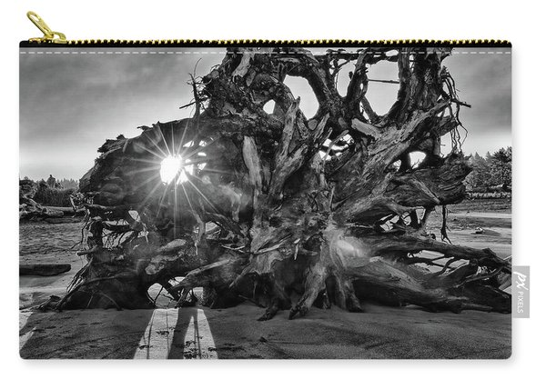 Big Tree On The Beach At Sunrise In Monochrome Carry-all Pouch
