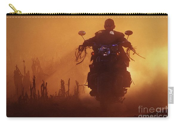 Biker Man Riding Motorcycle On The Sunset Carry-all Pouch