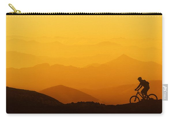 Biker Riding On Mountain Silhouettes Background Carry-all Pouch