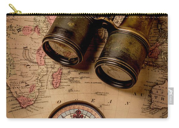 Binoculars And Compass On Map Carry-all Pouch