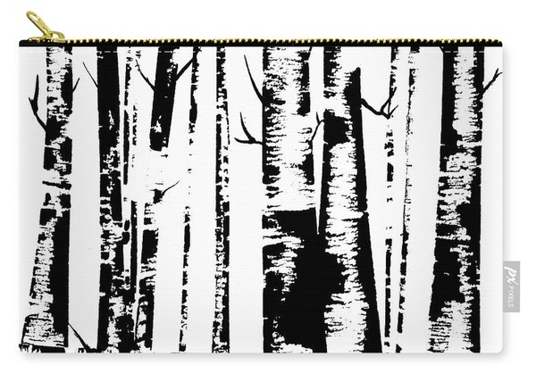 Birch Forest Black Carry-all Pouch