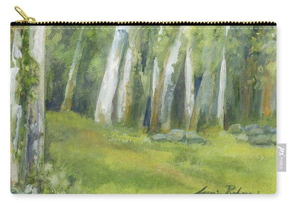 Birch Trees And Spring Field Carry-all Pouch