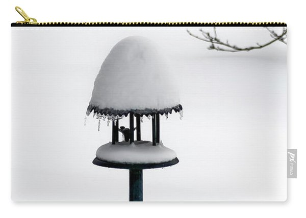 Bird Feeder In Snow Carry-all Pouch