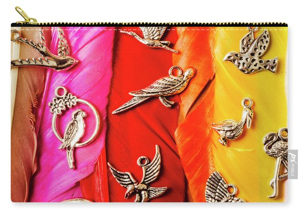 Bird Icons And Rainbow Feathers Carry-all Pouch