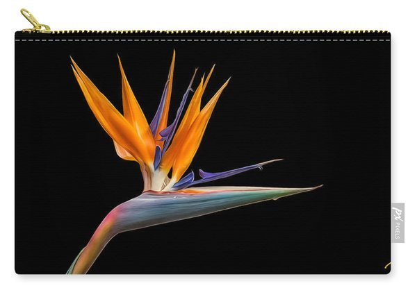 Bird Of Paradise Flower On Black Carry-all Pouch