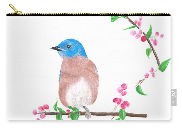 Minimal Bird And Cherry Flowers Carry-all Pouch
