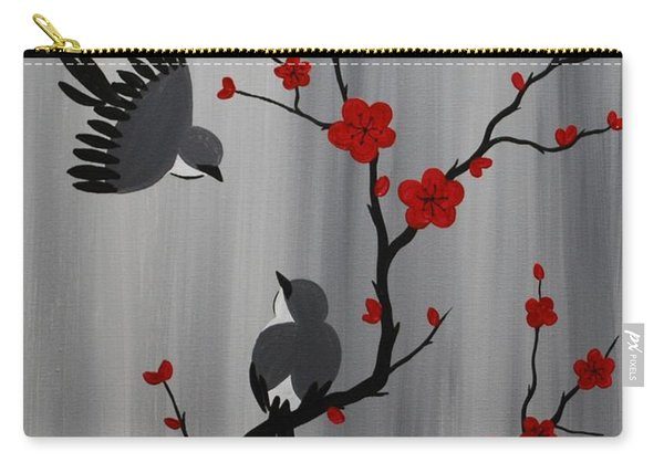 Birds And Blooms In Red Carry-all Pouch