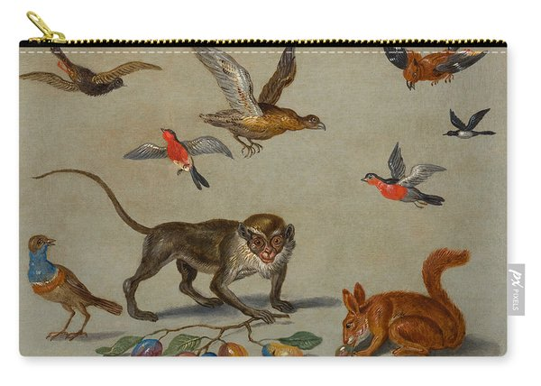 Birds Flying Around A Monkey Carry-all Pouch