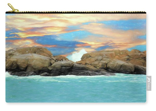 Birds On Ocean Rocks Carry-all Pouch