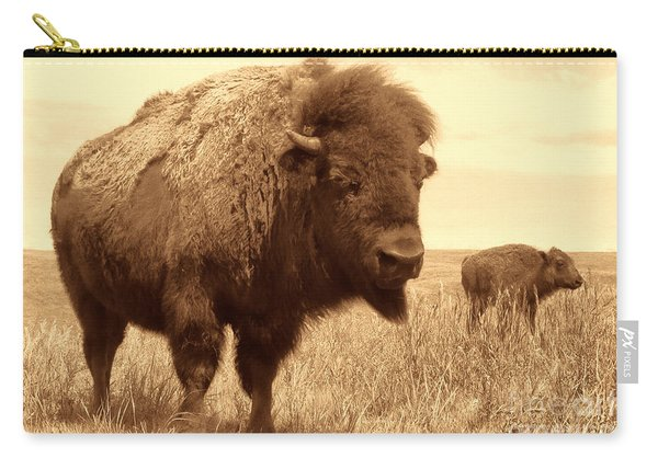 Bison And Calf Carry-all Pouch