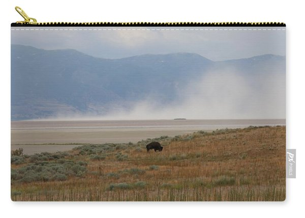 Carry-all Pouch featuring the photograph Bison Grazing At Salt Lake by Christy Pooschke