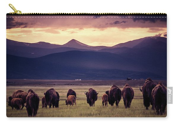 Bison Herd Into The Sunset Carry-all Pouch
