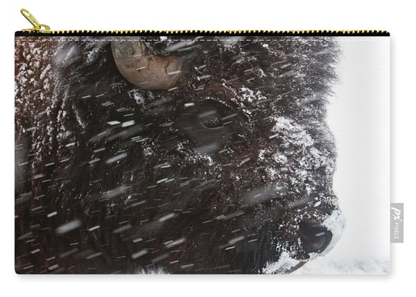 Bison In Snow Carry-all Pouch