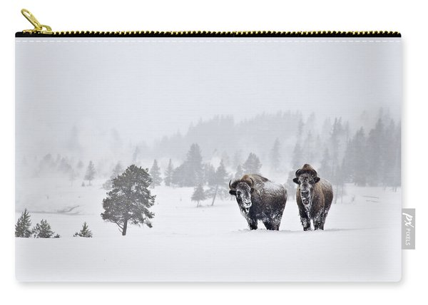 Bison In The Snow Carry-all Pouch