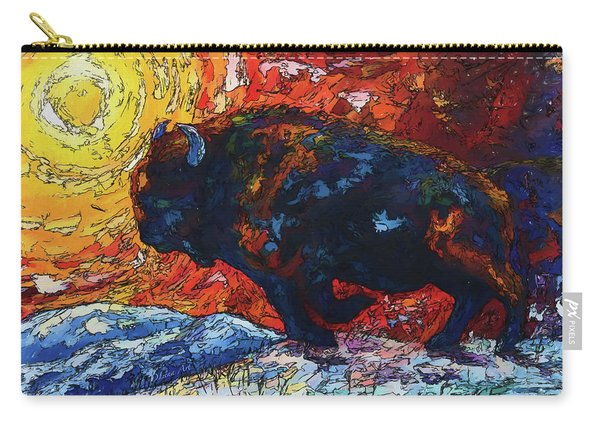 Bison Running Print Of Olena Art Wild The Storm Oil Painting With Palette Knife  Carry-all Pouch