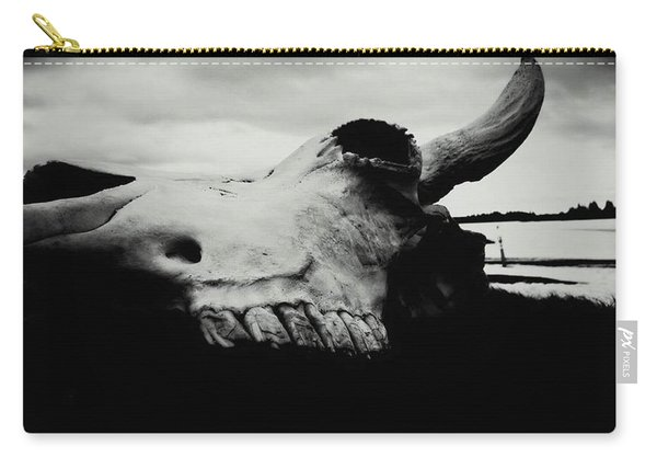 Bison Skull Black White Carry-all Pouch