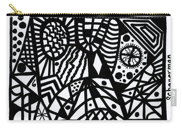 Black And White 6 Carry-all Pouch