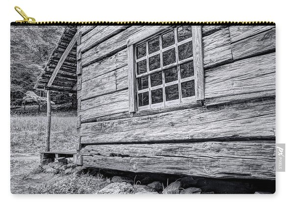 Black And White Cabin In The Forest Carry-all Pouch