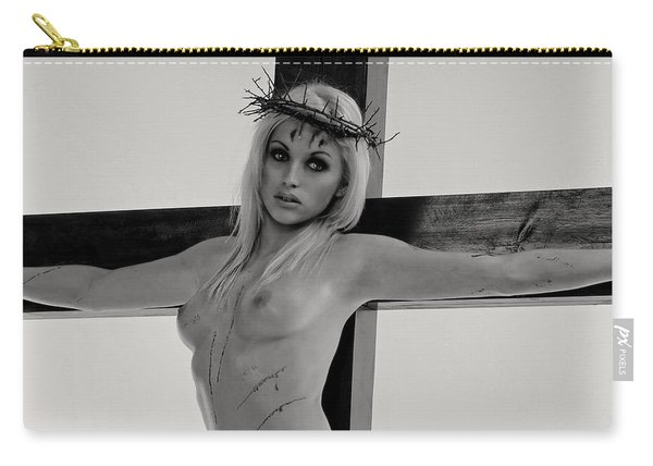 Black And White Crucifix I Carry-all Pouch