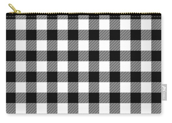 Black And White Gingham Small- Art By Linda Woods Carry-all Pouch